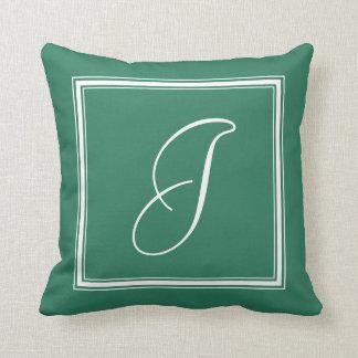 Jade Green Elegant Script and Arrows Monogrammed Throw Pillow