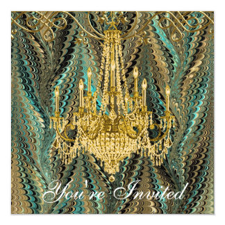 Jade Green Gold Chandelier Party Invitations