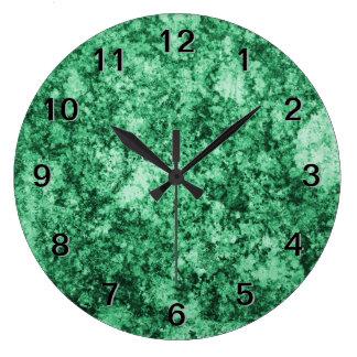 Jade Green Grungy Abstract Design Clocks