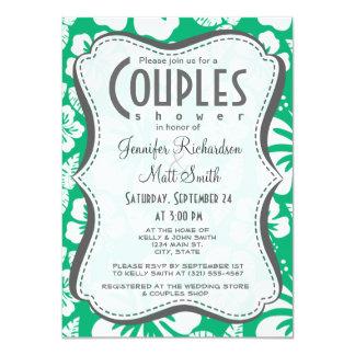 Jade Green Hawaiian Tropical Hibiscus 4.5x6.25 Paper Invitation Card