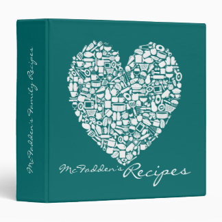Jade Green Heart Recipe Personalized Name Binder