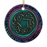 Jade Green Metal Celtic Knot Ceramic Ornament