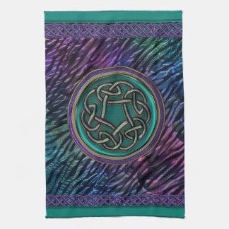 Jade Green Metal Celtic Knot Hand Towels