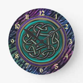Jade Green Metal Celtic Knot Round Clock