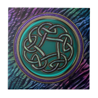 Jade Green Metal Celtic Knot Tile