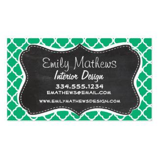 Jade Green Moroccan Quatrefoil; Chalkboard look Business Card Templates