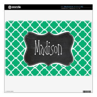 Jade Green Moroccan Quatrefoil; Chalkboard look MacBook Air Skin