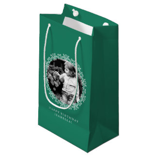 Jade Green Personalized Fancy Swirls Photo Frame Small Gift Bag