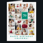 "Jade Green Photo Collage Happy Birthday Grandma Card<br><div class=""desc"">Wish grandma a happy birthday with this jumbo photo collage birthday card to which you can add 19 photos of the grand kids,  and grandmas age in big white letters against a jade green background.</div>"
