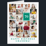 """Jade Green Photo Collage Happy Birthday Grandma Card<br><div class=""""desc"""">Wish grandma a happy birthday with this jumbo photo collage birthday card to which you can add 19 photos of the grand kids,  and grandmas age in big white letters against a jade green background.</div>"""