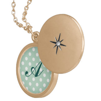 jade green,polka dot,white,cute,girly,trendy,fun locket