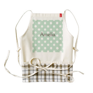 jade green,polka dot,white,cute,girly,trendy,fun zazzle HEART apron