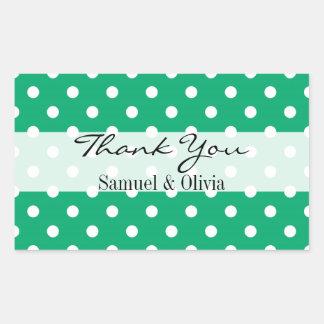 Jade Green Rectangle Custom Polka Dotted Thank You Rectangular Sticker