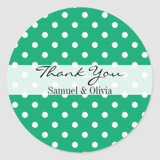 Jade Green Round Custom Polka Dotted Thank You Classic Round Sticker