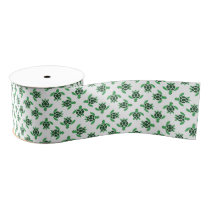 Jade Green Sea Turtle Mosaic Design Grosgrain Ribbon