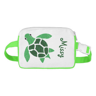 Jade Green Sea Turtle Mosaic with Name Fanny Pack