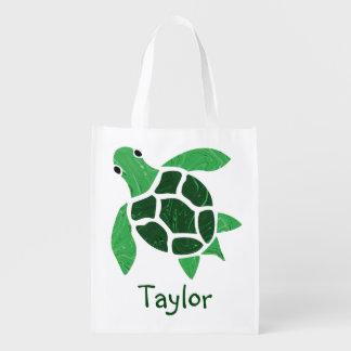 Jade Green Sea Turtle Mosaic with Name Reusable Grocery Bag