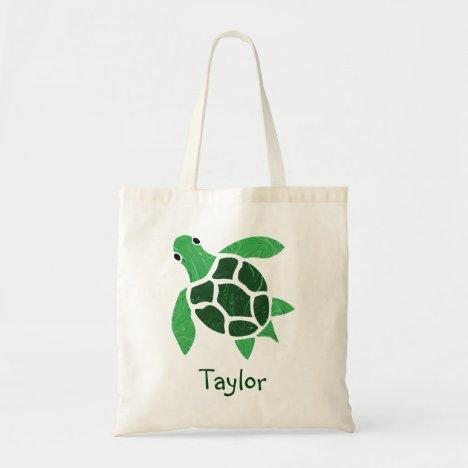 Jade Green Sea Turtle Mosaic with Name Tote Bag