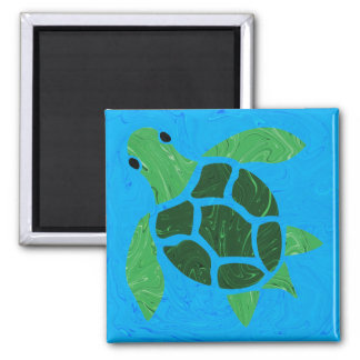 Jade Green Sea Turtle on Blue Ocean Background 2 Inch Square Magnet