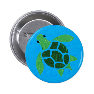 Jade Green Sea Turtle on Marble Ocean Blue Button