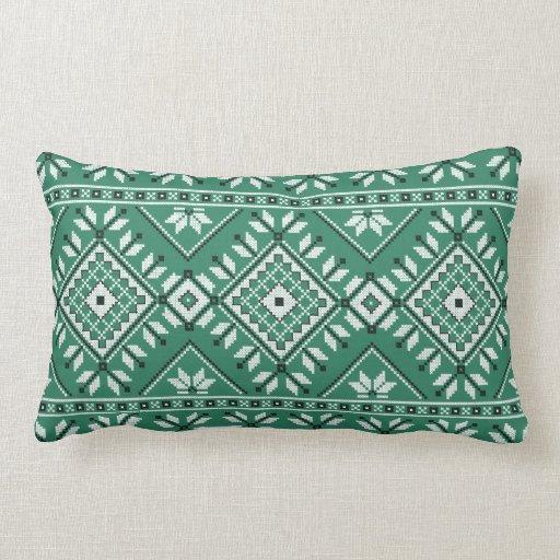 Jade Green Throw Pillow : Jade Green Southwest Native Tribal Pattern Throw Pillow Zazzle