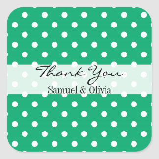 Jade Green Square Custom Polka Dotted Thank You Square Sticker