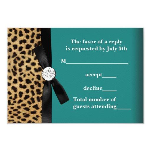 Jade Green Teal Blue Leopard Quinceanera 3.5x5 Paper Invitation Card