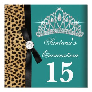Jade Green Teal Blue Leopard Quinceanera Personalized Invite
