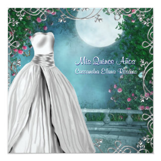 Jade Green Teal Blue Pink Roses Quinceanera Card
