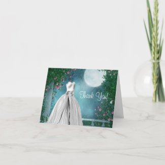 Jade Green Teal Blue Quinceanera Thank You Cards card
