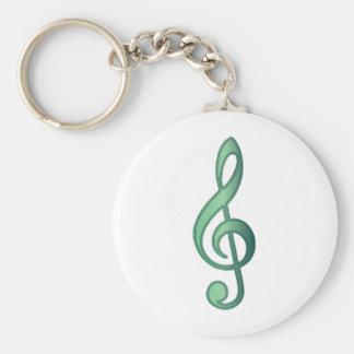 Jade Green Treble Clef Basic Round Button Keychain