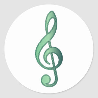 Jade Green Treble Clef Classic Round Sticker