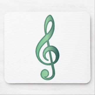 Jade Green Treble Clef Mouse Pad