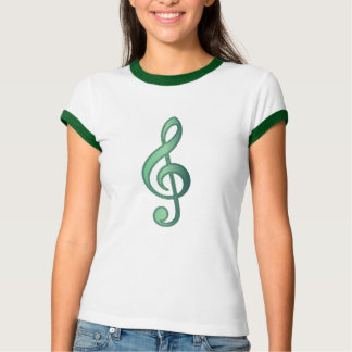 Jade Green Treble Clef Tee Shirts