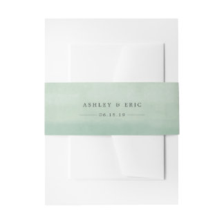 Jade Green Watercolor Personalized Wedding Invitation Belly Band