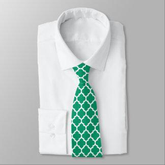 Jade Green White Moroccan Quatrefoil Pattern #5 Tie
