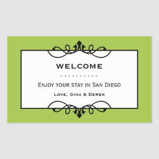 Jade green wrought iron frame out of town gift bag rectangular sticker