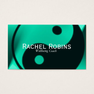 Jade green yin yang health and wellbeing business card