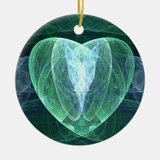Jade Heart Ceramic Ornament