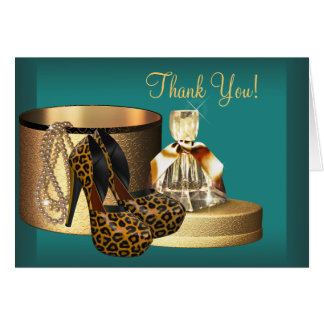 Jade High Heel Shoes Leopard Thank You Cards Note Card