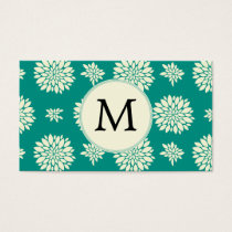 Jade ivory floral pattern custom monogram business card