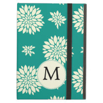 Jade ivory floral pattern custom monogram iPad air cases
