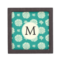 Jade ivory floral pattern custom monogram keepsake box