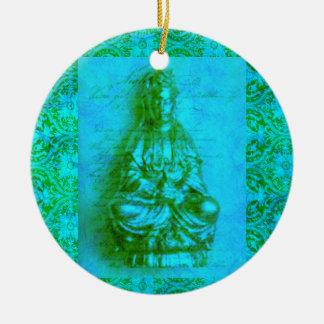 Jade Kwan Yin Ceramic Ornament