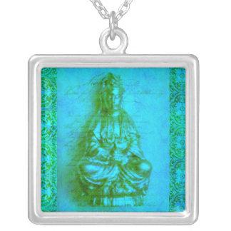 Jade Kwan Yin Silver Plated Necklace