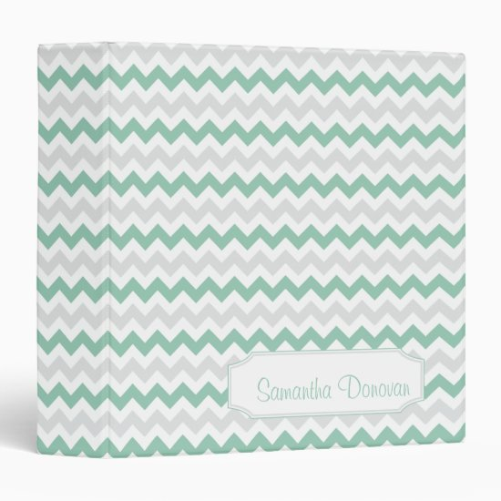 Jade Light Gray Zigzag Pattern Personalized Album Binder