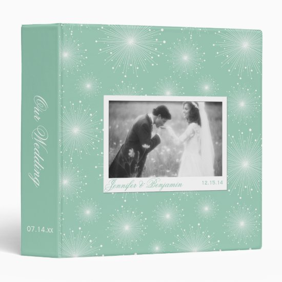 Jade Mint Green White Sunbursts Wedding Album Binder