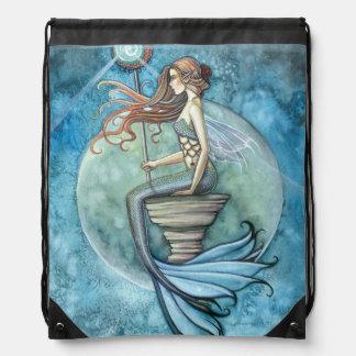 Jade Moon Mermaid Fantasy Art Drawstring Backpack