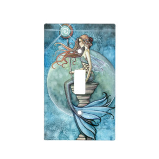 Jade Moon Mermaid Fantasy Art Light Switch Cover