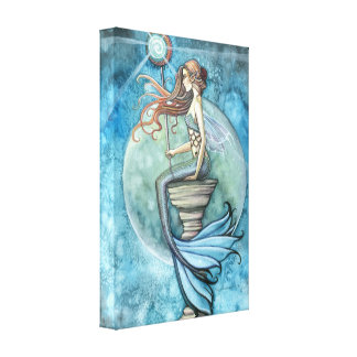 Jade Moon Mermaid Fantasy Art Wrapped Canvas Stretched Canvas Prints